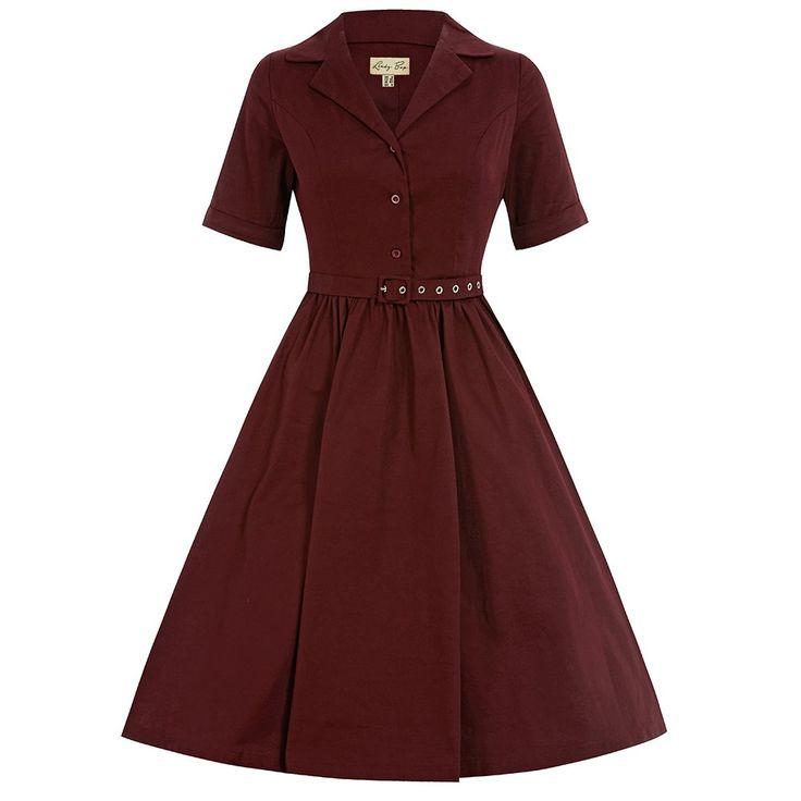 Bletchley Wine Shirt Swing Dress | Vintage Style Dresses - Lindy Bop