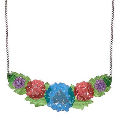 "Erstwilder Limited Edition Harmonious Hydrangea  Necklace. ""From earliest Spring to late Autumn morn. Oh beat of my heart, be mine to adorn."""