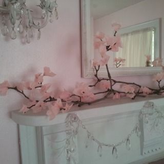 Tissue Paper Cherry Blossom --- i like the photo of branches inside jars.