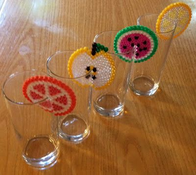 Howling at the moon: Fruity Hama Beads Glass Decoration