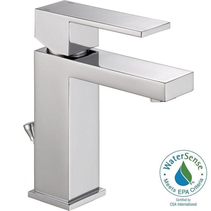 Delta Modern Single Hole Single-Handle Bathroom Faucet with Metal Drain Assembly in Chrome (Grey)