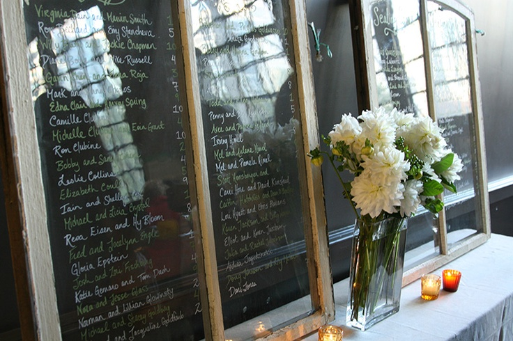 Seating numbers written on wooden framed chalkboards