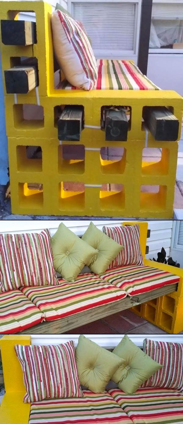 Ecco come fare un divano con i blocchi di cemento.