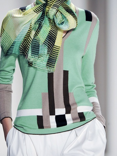 Spring 2012 Carolina Herrera. Love the sweater, especially the colors and design. Since mint is in, the black, gray, and white tone down the garden party/Easter vibe the mint gives.