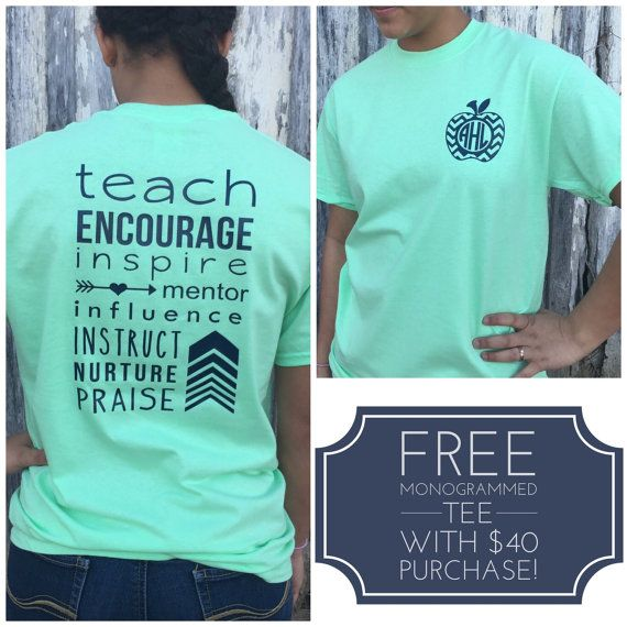 **See the last picture above to see how you can receive a FREE pocket sized monogrammed tee!!**  This monogrammed teacher shirt is a perfect