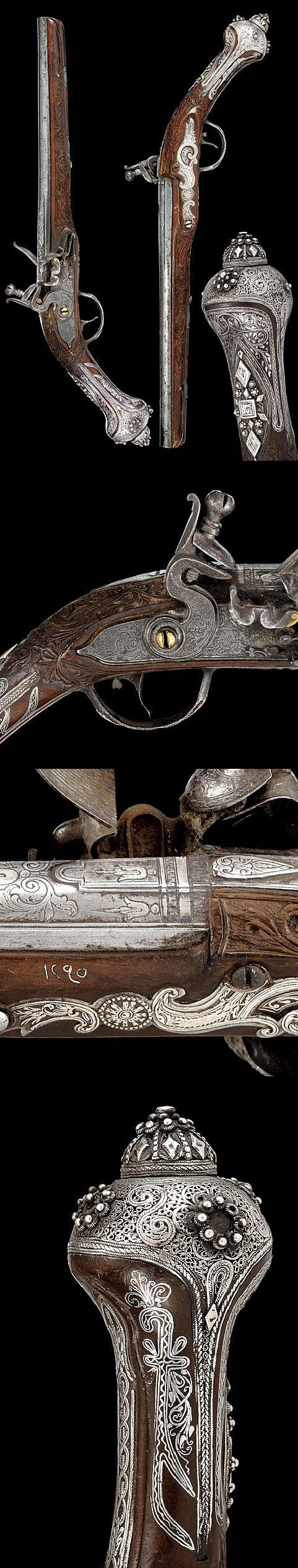 A pair of flintlock pistols   dating: circa 1800   provenance: Turkey
