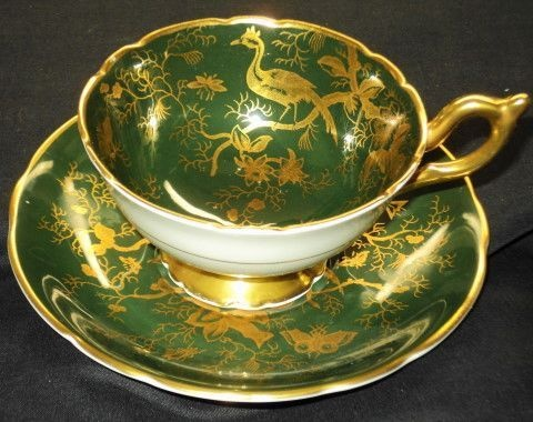 Coalport Cairo Pattern Bird Hunter Green Tea Cup and Saucer Teacup | eBay
