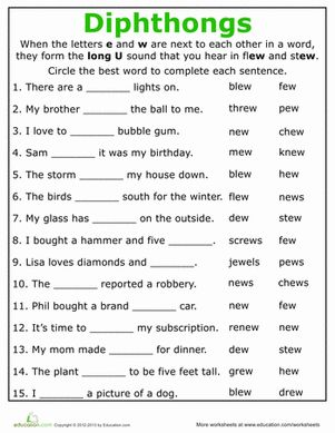 Printables 2nd Grade Phonics Worksheets Free 1000 ideas about phonics worksheets on pinterest free second grade practice reading vowel diphthongs ew