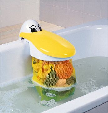 Keep bathroom clutter in check with kid-friendly containers, pouches and shelves for bath-time playthings