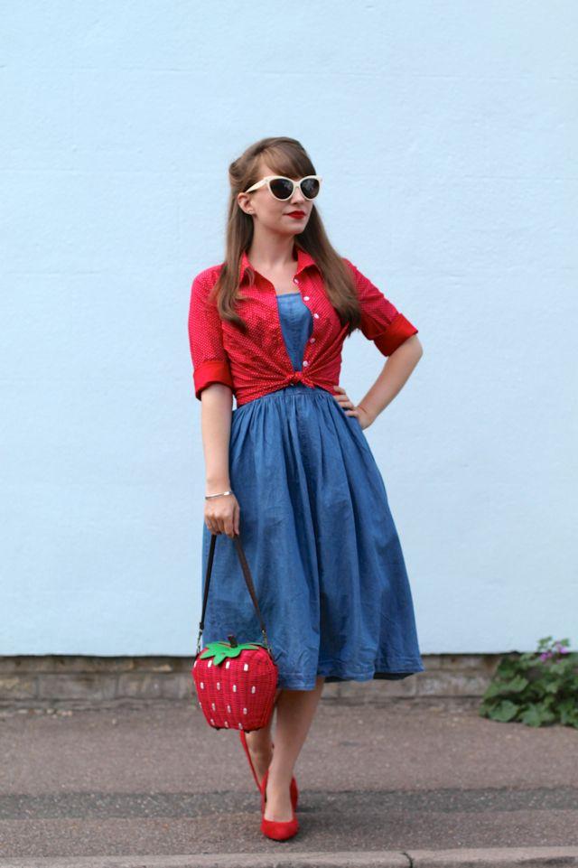 Oasis Jasmine 50s denim dress, Collectif shirt, Collectif strawberry bag