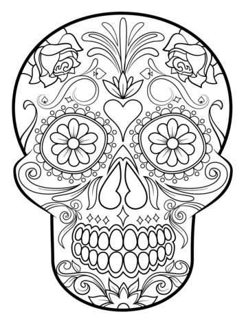 Sugar Skull coloring page from Sugar Skulls category. Select from 20946 printable crafts of cartoons, nature, animals, Bible and many more.