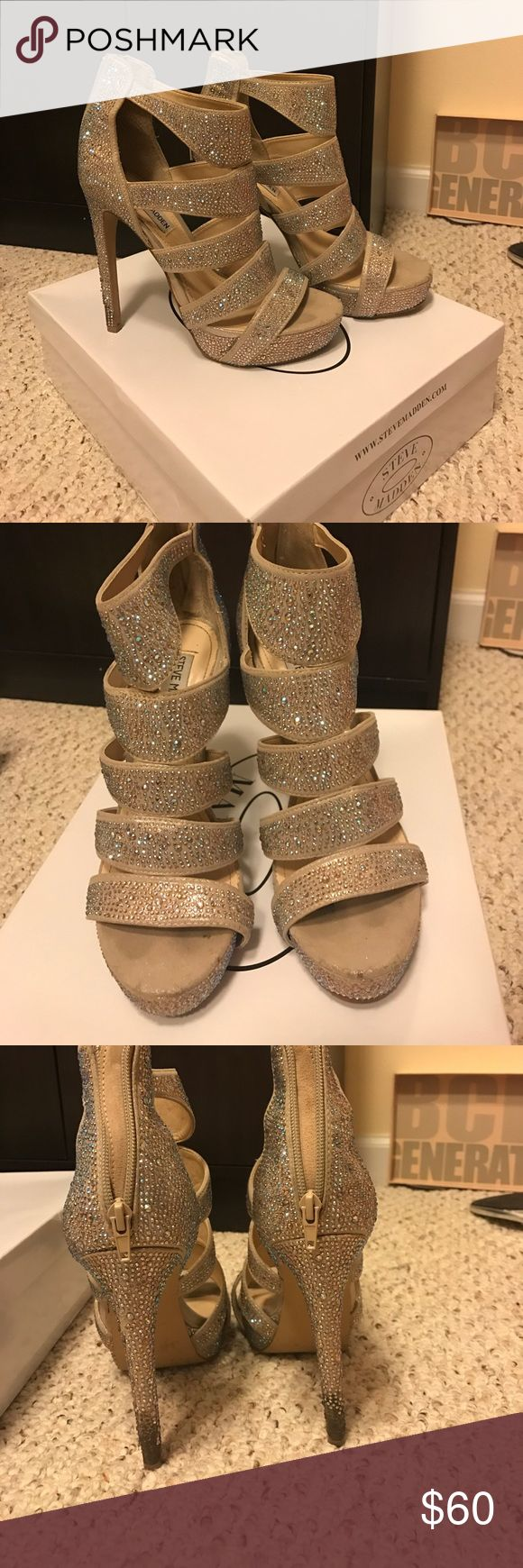 Steve Madden rhinestone sandals Steve Madden Spycee rhinestone sandals. Worn for my wedding. Rhinestones on bottom of heal has been removed due to stepping in grass. In champagne color. Will look nice with any color dress. Steve Madden Shoes Heels