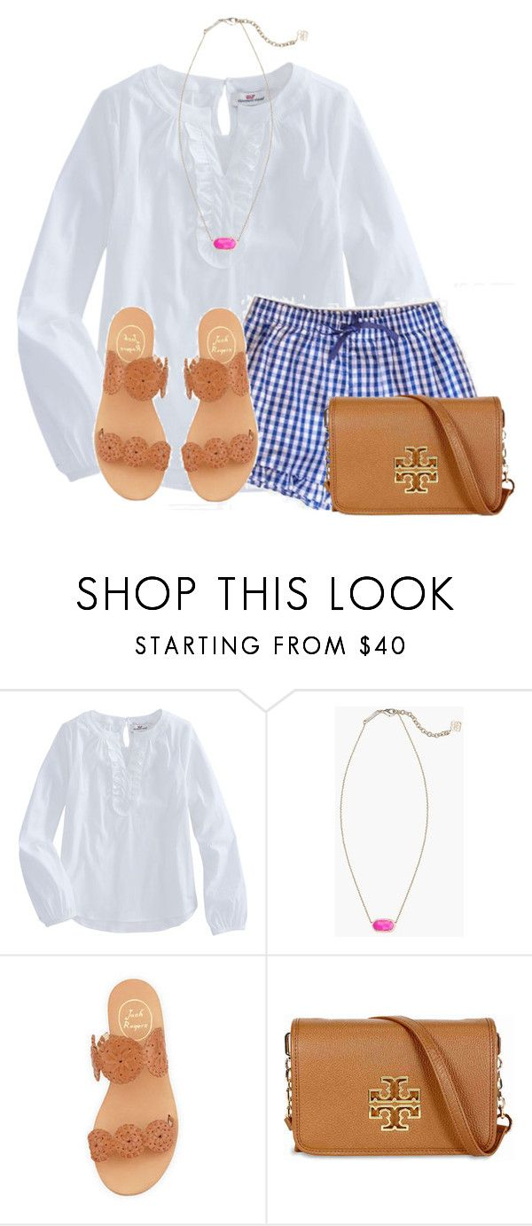 """""""So these are the shorts that I made yesterday"""" by flroasburn ❤ liked on Polyvore featuring Kendra Scott, Jack Rogers and Tory Burch"""