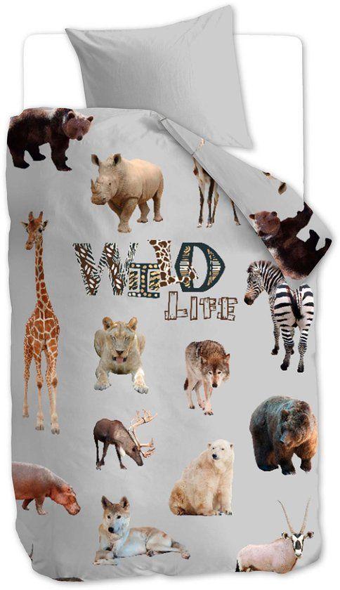 Beddinghouse Kids Wild Life - kinderdekbedovertrek - eenpersoons - 140x200/220 - Grijs