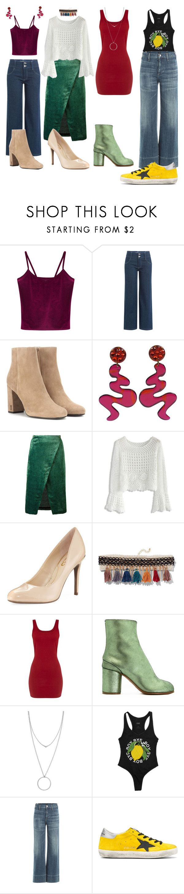 """spice girls - wannabe"" by starringsky ❤ liked on Polyvore featuring WithChic, Sandy Liang, Yves Saint Laurent, Roseanna, Chicwish, Circus by Sam Edelman, New York & Company, Maison Margiela, Botkier and Citizens of Humanity"
