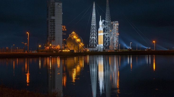 United Launch Alliance Delta Iv Heavy Rocket, With The Orion Spacecraft On Top, Awaiting Liftoff From Space Launch Complex-37 [1600x900]