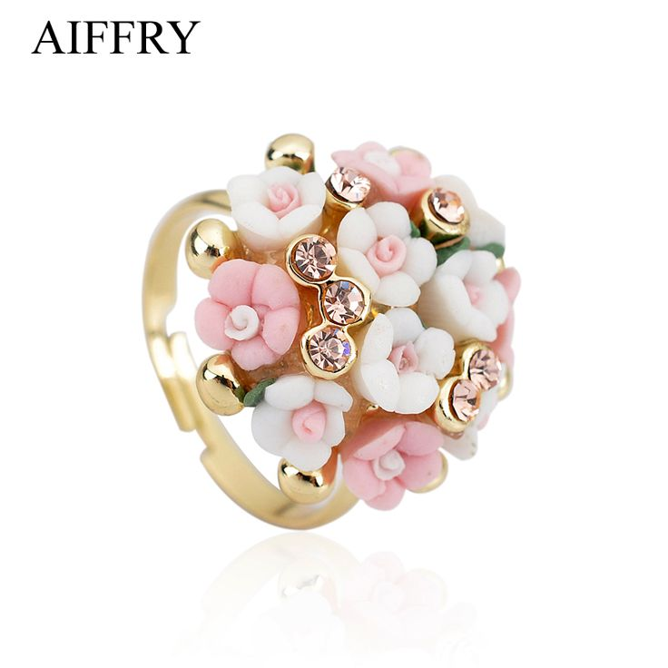 Aiffry Fashion Brand Wedding Rings Jewelry Bague Femme Pink Flower Rings For Women Summer Style Gold Ceramic Anillos Mujer R2108