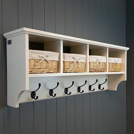 Hat Coat Rack With Shelf Including Storage Baskets Compartments And Cubby Holes Painted Wood Wall Mounted Displa In 2020 Coat Rack Shelf Wall Cubbies Coat Rack Wall