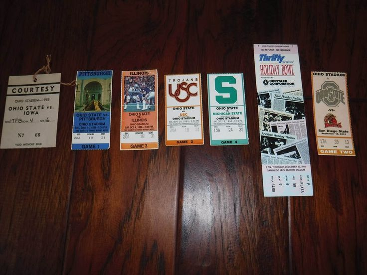 Vintage Ohio State Football ticket stubs 1955 85 86 90 93 and 2001 and 1993 Holiday Bowl SD Jack Murphy Stadium by MilliesAttique on Etsy