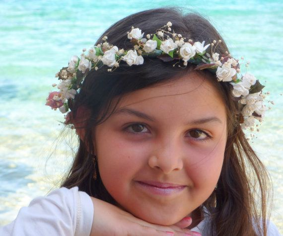 White Kids Flower Crown Little Girls Crown  by BlackSwanFeather
