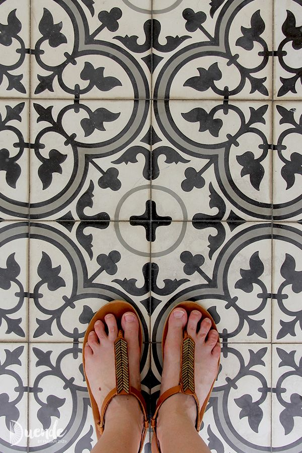 Peranakan floor tiles and Sseko sandals, Singapore.