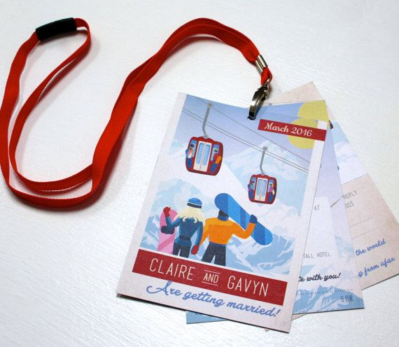 Ski Pass wedding invitations, perfect for skiers or snowboarders! Bright colours and illustrations feature throughout the lanyard ski pass. The last page also featured a perforated RSVP.  Give your guests an insight to your big day and by giving them something different to the traditional wedding invitation they would usually receive.   This pass is perfect to give lots information to your guests.  This ski pass is made up with 3 pieces of A6 card, whole punched and attached to a lanyard…