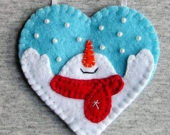 Snowman Christmas Decorations, Snowman Heart Decor, Felt Ornaments, Christmas Tree Ornaments, Hanging Set