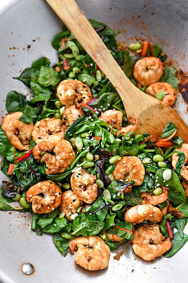 Sesame Shrimp with Asian Greens Rice Bowls | foodiecrush.com