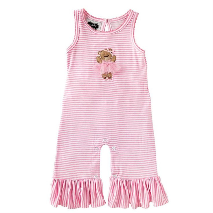 Printed bamboo-blend romper with picot stitch around neckline and sleeves features felt bear applique with tulle skirt, tulle bum ruffles, ruffles at ankles and keyhole back. #MudPieGift