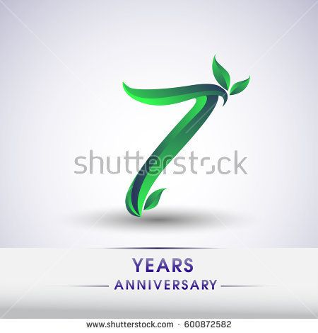 seven years anniversary celebration logotype with leaf and green colored. 7th birthday logo on white background.