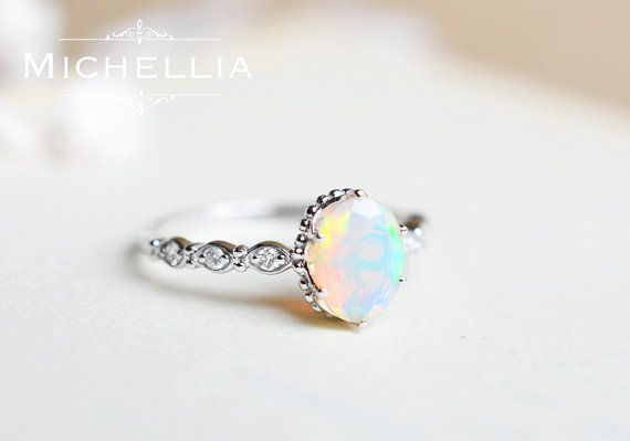 White Gold Opal Engagement Ring with Diamond 14K or 18K Solid by MichelliaDesigns | Etsy