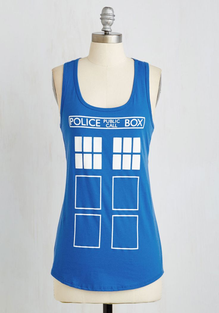 Look Who's Here! Top. You elate everyone when they see you sporting your signature spirited style in this Doctor Who top! #blue #modcloth
