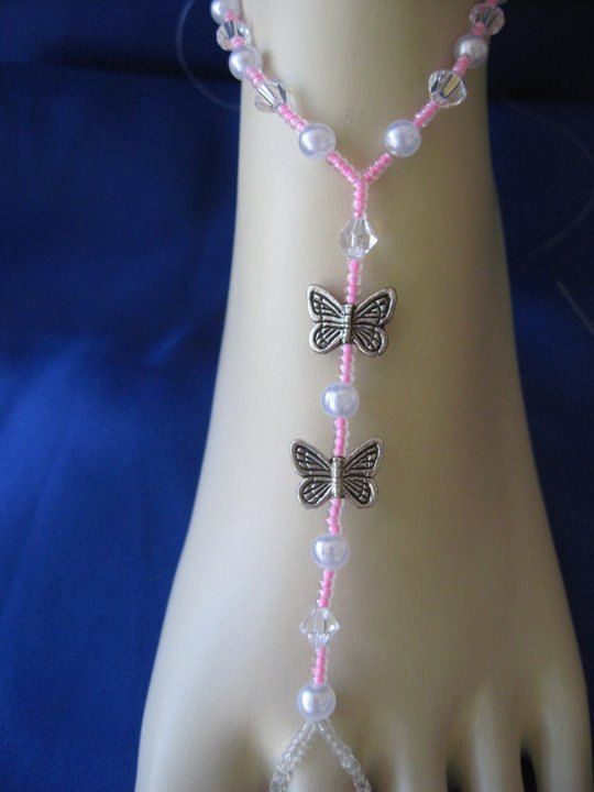 Barefoot Sandals Foot Jewelry Butterflies Pearls and Crystals Beach Wedding Bridesmaids Foot Jewelry