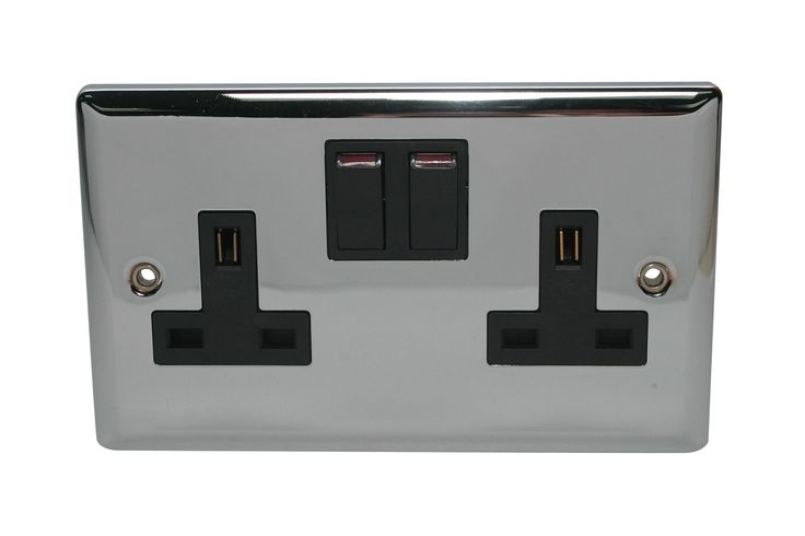 Volex 13A Polished Chrome Switched Double Socket | Departments | DIY at B&Q