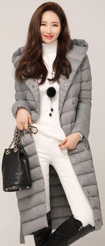 StyleOnme_Slim Fit Hooded Long Padded Coat #gray #koreanfashion #kstyle #kfashion #padded #down #coat #warm #dailylook #wintertrend
