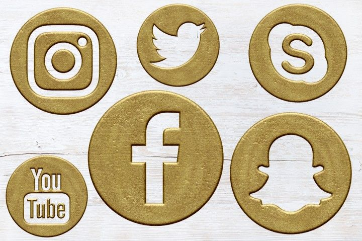 Antique Gold Social Icons Set By North Sea Studio