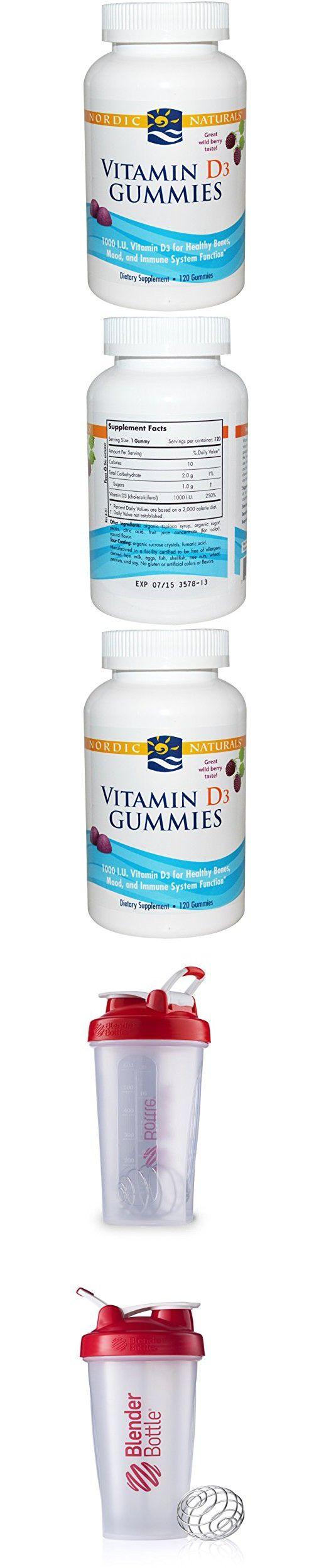 Best Nordic Naturals, Vitamin D3 Gummies, Wild Berry, 1000 IU, 120 Gummies, Sundesa, Classic Blender Bottle with Loop, Red, 28 oz Bottle
