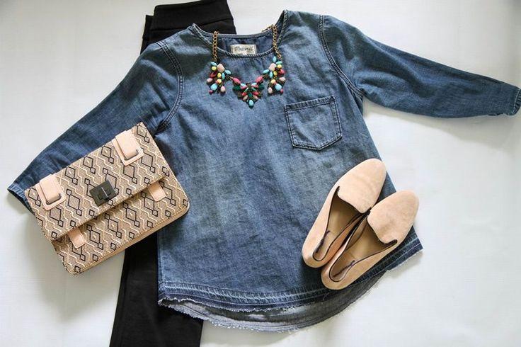 denim shirt + black crops + pink accessories
