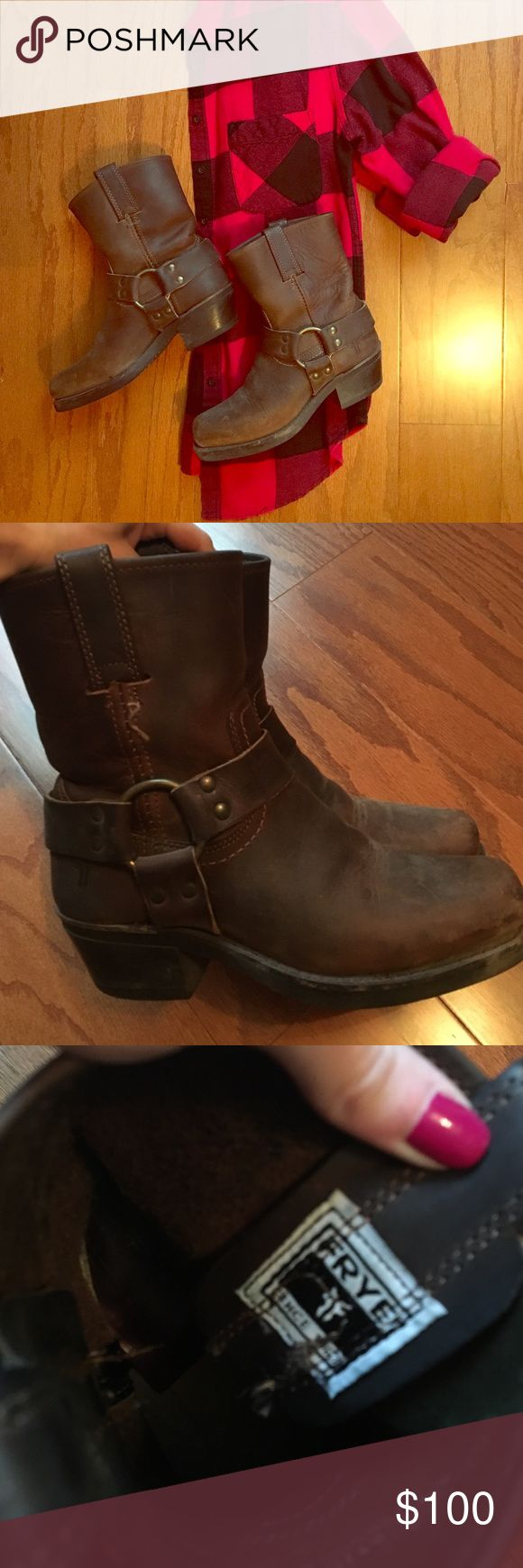 Short Frye boots Short Frye boots. Square toe. The bottoms barely have any wear on the tread Frye Shoes Ankle Boots & Booties