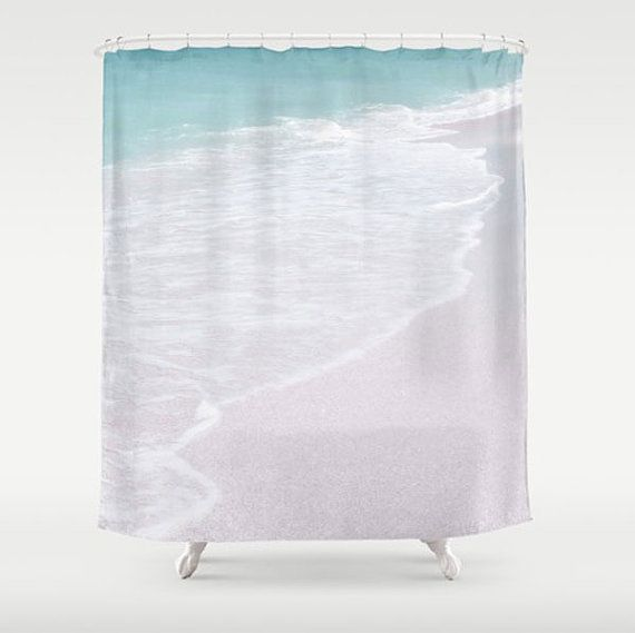 Coastal Shower Curtain Teal & White 71x74/71x94 Fabric Curtain Minimalist Beach Bathroom Decor Sand Surf Ocean Bathroom Seaside Florida Gulf