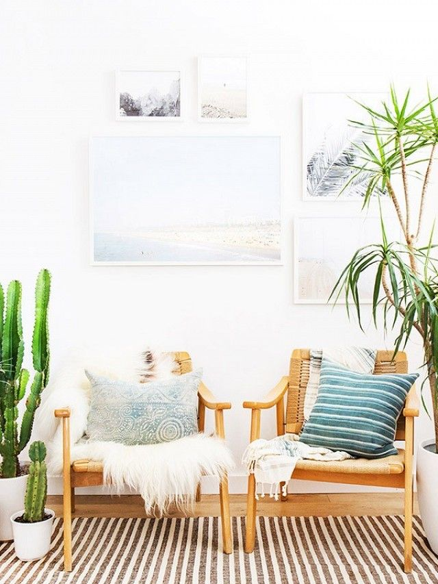 A boho inspired seating area within a living room will allow your guests to feel even more at home!