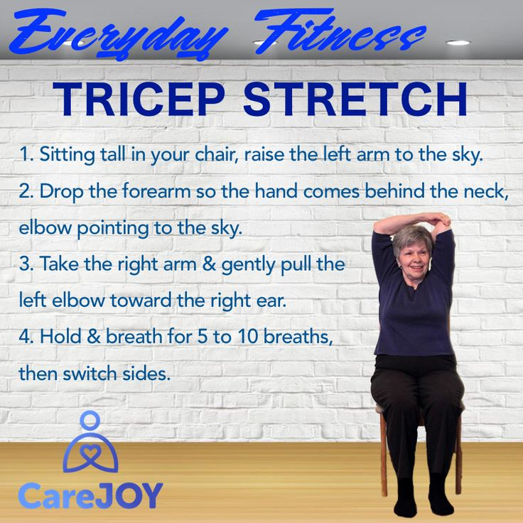 """A good warm up will prepare your body for exercise by increasing your circulation and helping the delivery of oxygen to muscles and the brain.   Purpose of this exercise:   ✔ Stretches the shoulder and triceps   ✔ Improves the mobility of your upper arm and shoulder.   Tips:   ✔ Keep your back straight during the exercise.   ✔ Tuck your chin, as if to make a """"double chin"""".   ✔ Tighten your stomach muscles."""