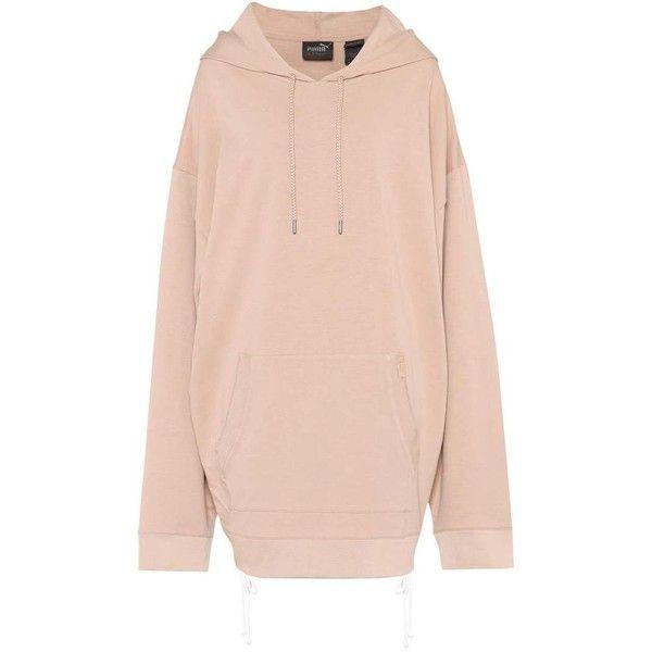 FENTY by Rihanna Oversized Cotton-Jersey Hoodie ($285) ❤ liked on Polyvore featuring tops, hoodies, beige, sweatshirts, oversized hoodie, puma hoodies, pink hooded sweatshirt, puma top and beige hoodie