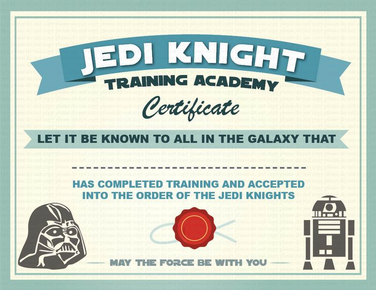 INSTANT DL Jedi Knight Certificate Star Wars Birthday by GoAlis