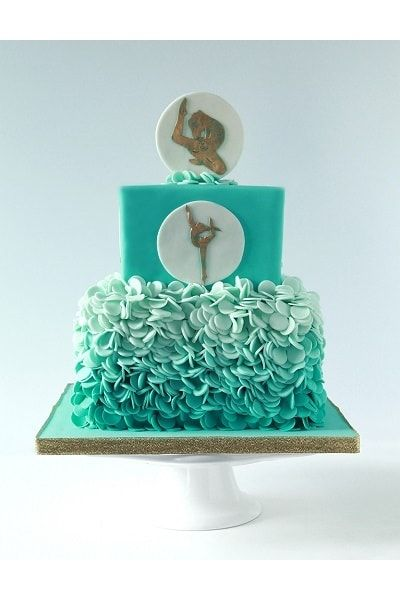 Gymnastics cake with ombre ruffles