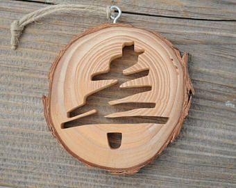 Stylized Christmas Tree Ornament, Rustic Wooden Tree Ornament, Modern Tree Scroll Saw Mini Wall Hanging