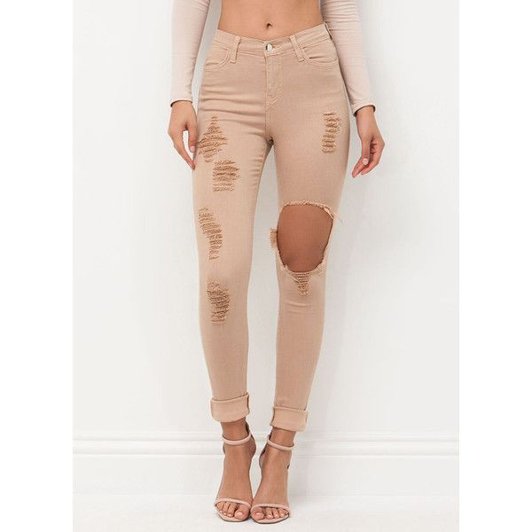 TAN Rip To Shreds Distressed Skinny Jeans ($40) ❤ liked on Polyvore featuring jeans, bottoms, pants, tan, skinny leg jeans, destruction jeans, ripped jeans, denim skinny jeans and tan jeans