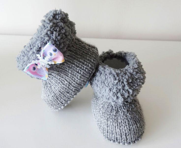 bottes fourrées grises en laine pour bebe de 0/3 mois : Mode Bébé par bebe-chou-by-estefan