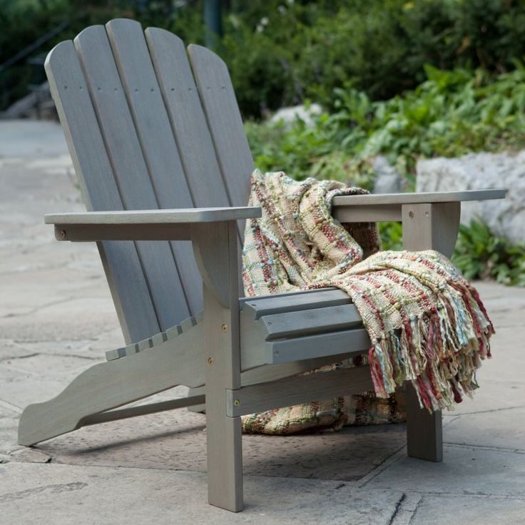 Outdoor Belham Living Shoreline Wooden Adirondack Chair - Driftwood - W3689-D