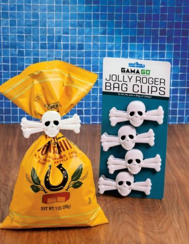 Gama Go Jolly Roger Skull Cross Bones Snack Chip Bag Clip Set of 4 | eBay